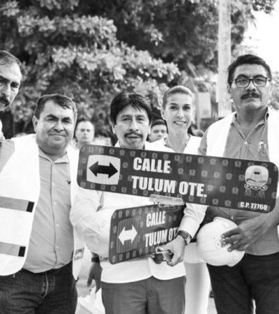 Gobierno de Tulum implementa colocación de señalamientos viales en principales calles de la cabecera municipal