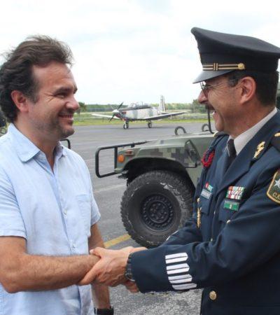 Pedro Joaquín refrenda el compromiso de trabajar en coordinación con las fuerzas armadas para garantizar la seguridad de Cozumel