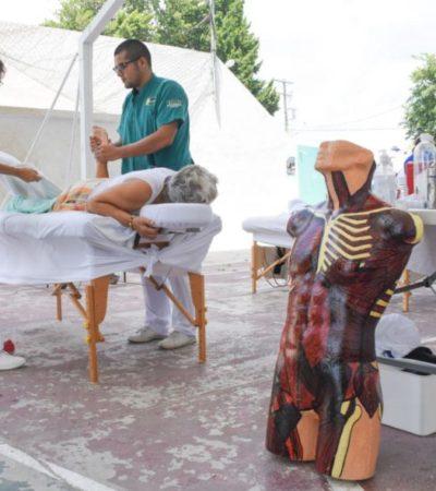 Gobierno de Puerto Morelos realiza brigadas de salud física para adultos mayores