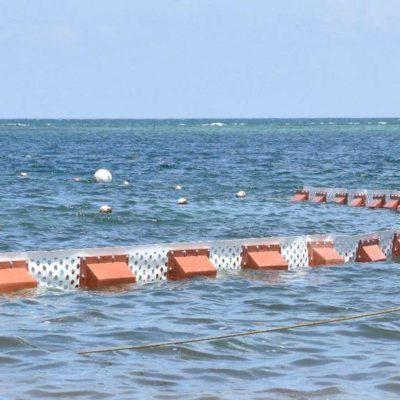Instalan nueva línea de barreras marinas para evitar el recale de sargazo en las playas de Puerto Morelos