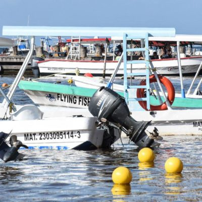 Colocan anclajes para embarcaciones menores en Puerto Morelos