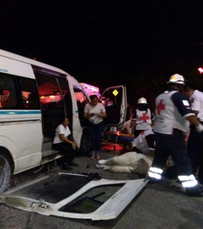 Choque entre una van de pasajeros y un taxi deja saldo de cinco lesionados en Playa del Carmen