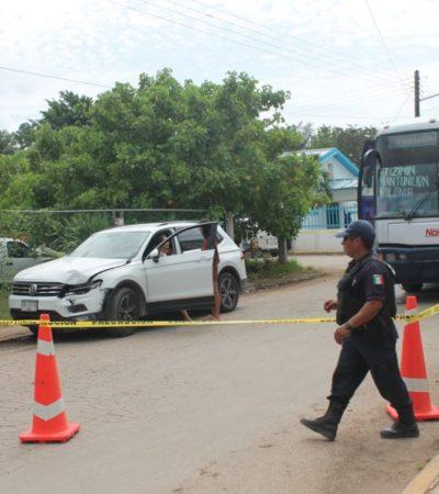 Turistas se libran de ser arrollados por autobús en un accidente en Kantunilkín