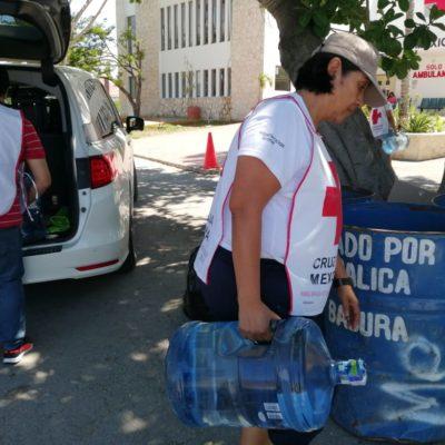 Amplía Cruz Roja centro de acopio en Playa del Carmen para brigadistas que combaten incendio en Sian Ka'an
