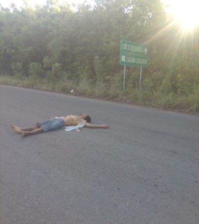 APENAS SALIÓ DE LA CÁRCEL: Presunto delincuente aparece golpeado a media carretera en las afueras de Chetumal