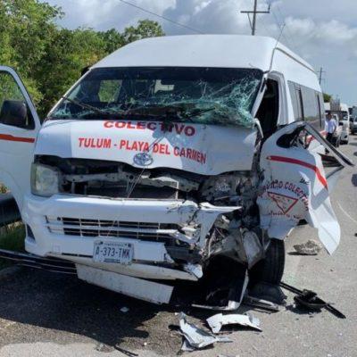 Se registran dos aparatosos accidentes con personas lesionadas en la carretera Playa-Tulum