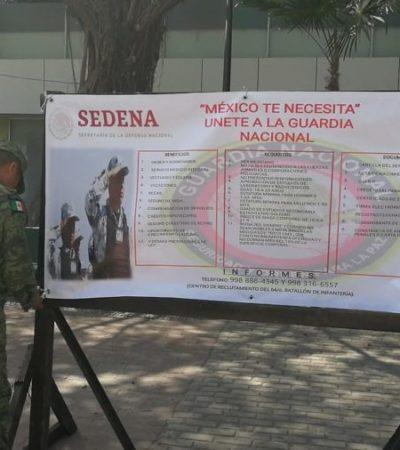 """""""MÉXICO TE NECESITA"""": Sedena inicia el reclutamiento de civiles para integrar la Guardia Nacional, en el 64 Batallón de Infantería de Cancún"""
