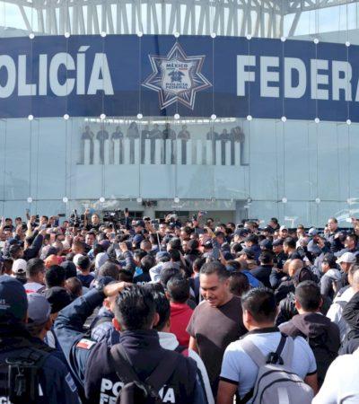 Protestan Policías Federales por incorporación a Guardia Nacional; lanzan pliego petitorio