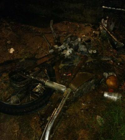 Denuncian quema intencional de motocicleta y parte de edificio en Cozumel
