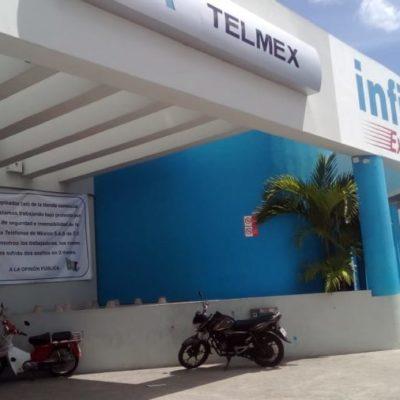 Empleados de Telmex en Cancún exigen seguridad, ante repetidos asaltos en la sucursal de la Portillo