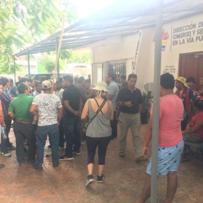 Manifestación de comerciantes ambulantes de la zona de El Crucero por afectaciones por obras de remodelación