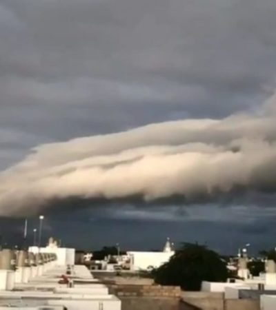 Se forma inusual nube en Mérida ocasionada por el cambio climático, asegura Antonio Morales Ocaña