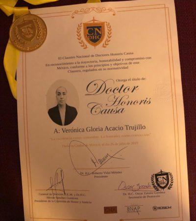 Otorgan el doctorado Honoris Causa a Verónica Acasio, magistrada del Tribunal Superior de Justicia de QR