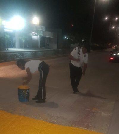 Realizan labores de limpieza y pintura de pasos peatonales en Isla Mujeres