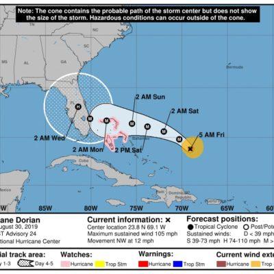 MONITOREO EN EL ATLÁNTICO: 'Dorian' es ya huracán categoría 2; está a mil 800 kilómetros de Quintana Roo