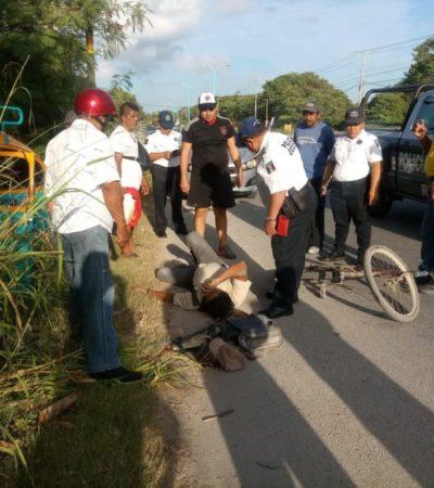 Albañil resulta lesionado en la cabeza tras caer de su bicicleta, al maniobrar auto para evitar atropellarlo en Chetumal