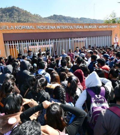 Piden autoridades rurales el cierre de la Normal 'Jacinto Canek' por vandalismo de estudiantes