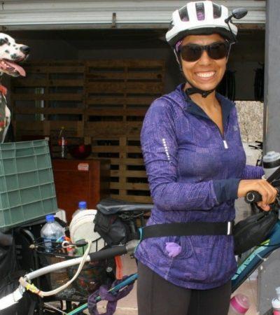 Visita Yucatán ciclista que promueve el empoderamiento de las mujeres; la acompaña su fiel perro Macú