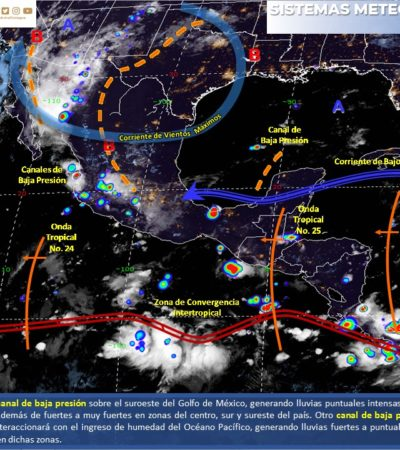 PRONÓSTICO DEL CLIMA: Se va onda tropical 25; mañana arriba la onda tropical 26