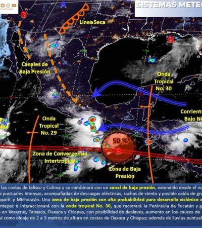 PRONÓSTICO DEL CLIMA: Nublados y algunas lluvias por la onda tropical 30