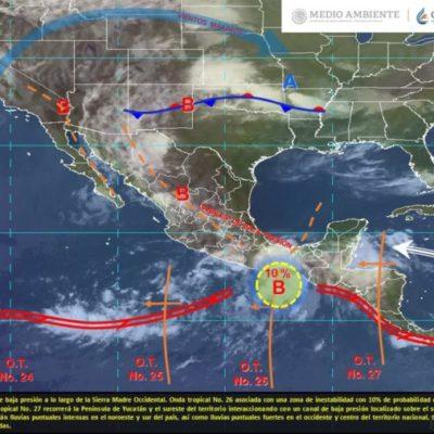Nubosidad, lluvias dispersas y actividad eléctrica para Quintana Roo, debido al arribo de la onda tropical 27