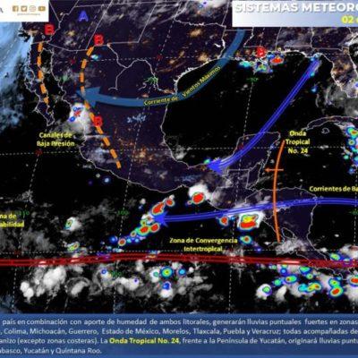 Ingreso de la onda tropical 24 a Quintana Roo podría generar lluvias  y actividad eléctrica