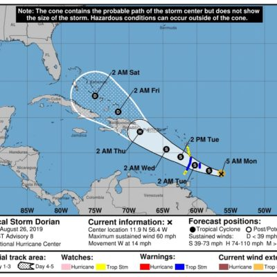 MONITOREO EN EL ATLÁNTICO: 'Dorian' podría afectar a Puerto Rico, Dominicana, Haití y Cuba