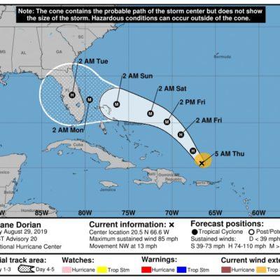 MONITOREO EN EL ATLÁNTICO: 'Dorian' impactaría como huracán en Florida el domingo; 'Erin' se degrada