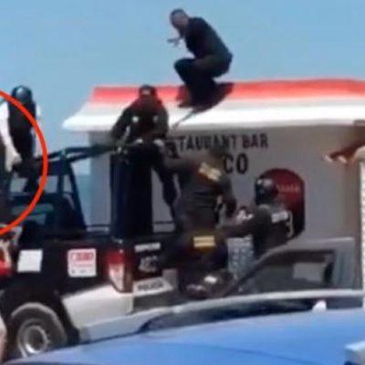 VIDEO | SE GANAN POLICÍAS RECHIFLA EN CAMPECHE: Escapa ladronzuelo de operativo para detenerlo