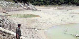 Queda seca laguna en Chiapas y pobladores recogen peces para echarlos a otros cuerpos de agua
