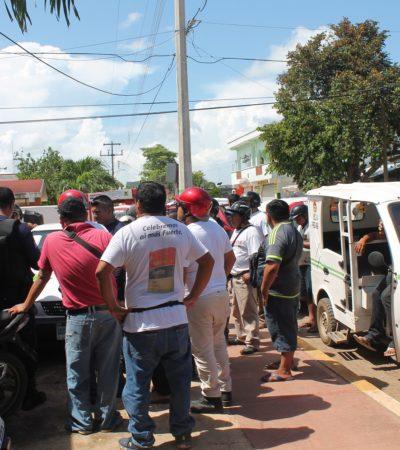 Protestan mototaxis en Kantunilkín por entrada de la CROM