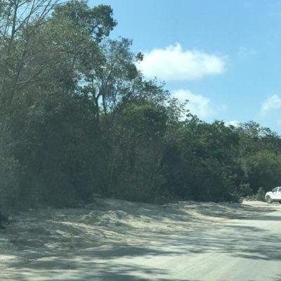 Denuncian tiradero clandestino de concreto en área verde de Tulum
