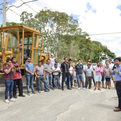 Continúa la pavimentación de la Región 1 en el casco antiguo de Tulum