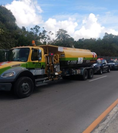 INVESTIGAN PRESUNTO CASO DE HUACHICOL: Aseguran en el libramiento de la autopista Mérida-Cancún pipa con 17 mil litros de turbosina de supuesta procedencia ilícita