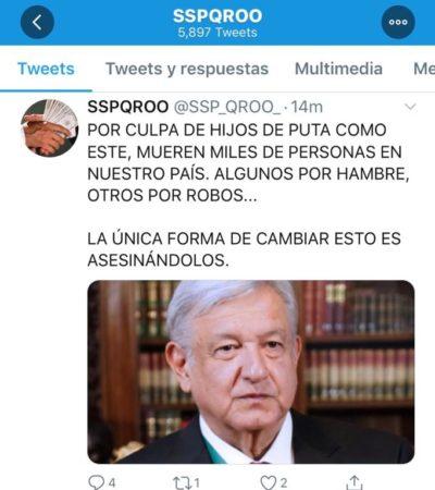 'Hackean' cuenta de Twitter de Seguridad Pública de QR para lanzar amenazas contra el Presidente Obrador