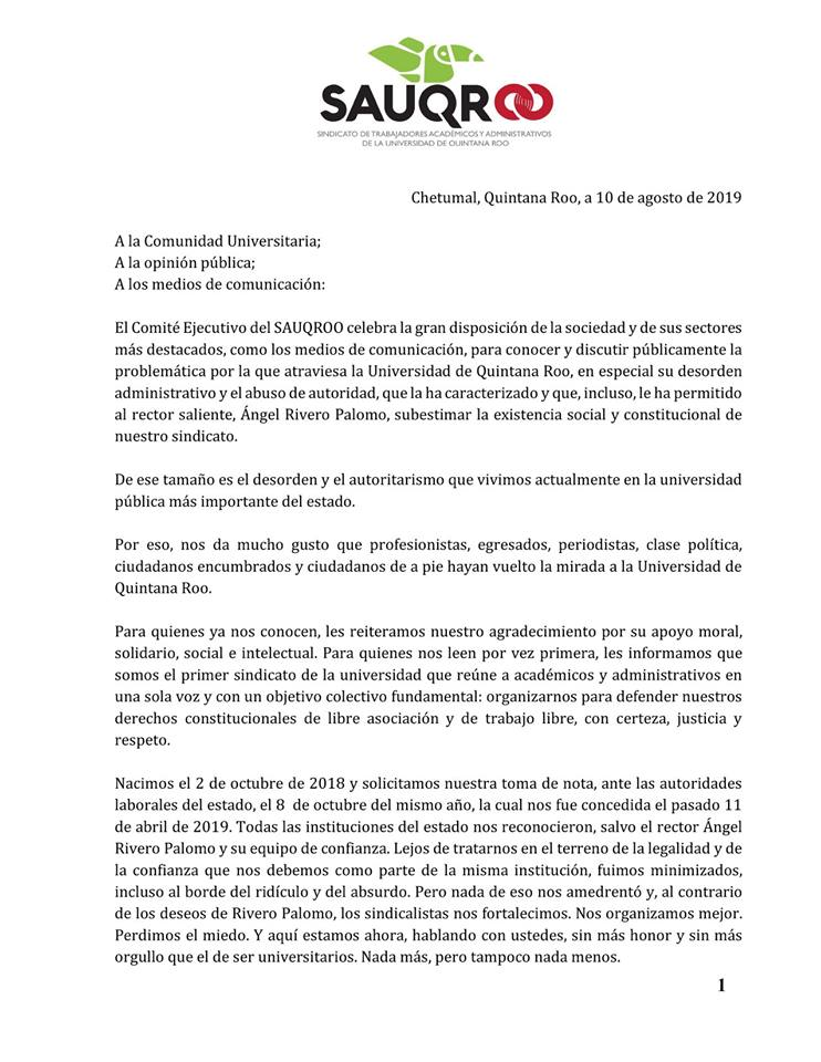 Desmiente sindicato de Uqroo 'respaldo' a López Mena