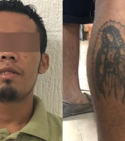 Capturan a presunto integrante de grupo delictivo con arma larga… y tatuaje de la virgen de Guadalupe