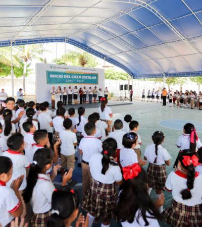 Gobierno de Puerto Morelos se compromete a fortalecer la educación integral de estudiantes durante el inicio de clases