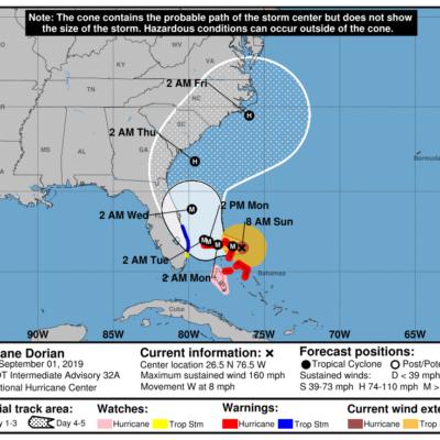 """'DORIAN'  SE CONVIERTE EN """"EXTREMADAMENTE PELIGROSO"""": Alcanza huracán categoría 5 en su trayecto hacia Las Bahamas y la costa este de EU"""