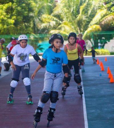 Realizan en Isla Mujeres la primera Mini Olimpiada Estatal de Velocidad sobre Ruedas con 70 participantes