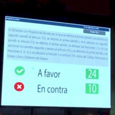 Aprueban en Oaxaca despenalización del aborto hasta las 12 semanas de gestación