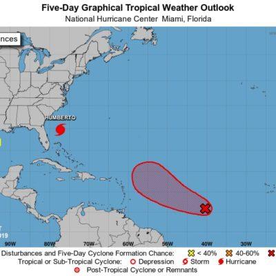 MONITOREO EN EL ATLÁNTICO: 'Humberto' es huracán categoría 1; está a mil 330 km de Cabo Catoche