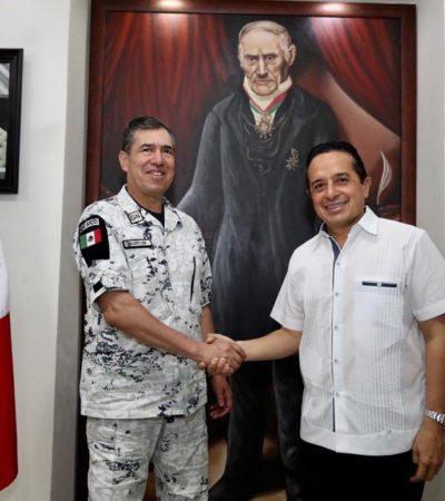 REUNIÓN DE SEGURIDAD EN CHETUMAL: Recibe Gobernador al Comandante de la Guardia Nacional