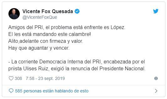 ACALAMBRADO: Se lanza Fox en defensa de Alito y llama a sus amigos del PRI a 'aguantar y vencer'…