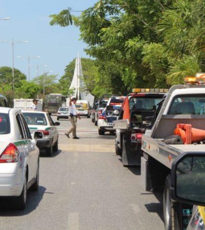Protestan grúas pacíficamente en Cancún por modificaciones propuestas al reglamento para prestación del servicio