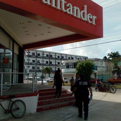 ASALTAN BANCO EN CHETUMAL: Empistolados ingresan al Santander de la Avenida Lázaro Cárdenas con Juárez y se llevan al menos 3 mdp