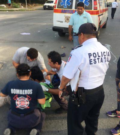 Automóvil arrolla a motociclista en Chetumal