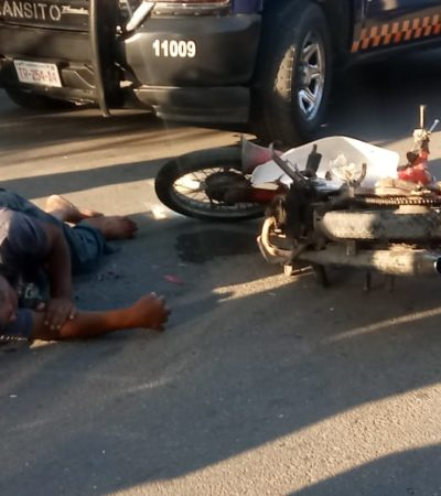 Motociclista grave, tras chocar en Chetumal