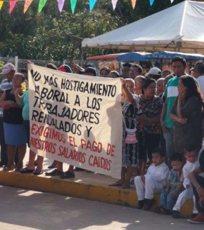 Burócratas protestan en desfile de José María Morelos
