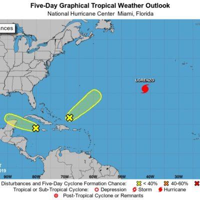 Se forma en el Caribe sistema de baja presión con 10% de evolucionar a ciclón en las próximas 48 horas